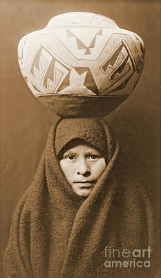 Zuni Photograph - Zuni Girl With Jar by Padre Art