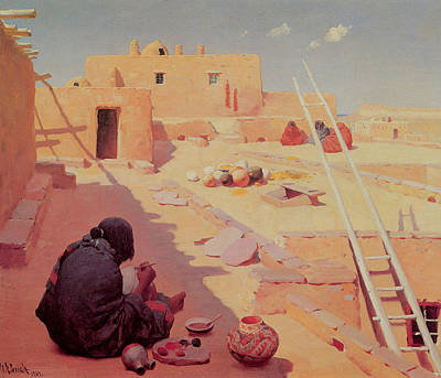 Master Potter Painting - Zuni Pottery Maker by William Robinson Leigh
