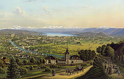 Beautiful Vistas Painting - Zurich 1884 by Mountain Dreams