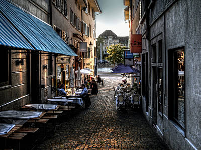 Print featuring the photograph Zurich Old Town Cafe by Jim Hill