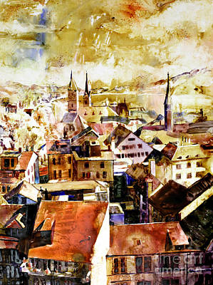 Painting - Zurich Skyline by Ryan Fox