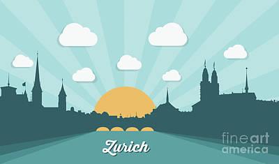 Sunset Digital Art - Zurich Skyline, Switzerland - Flat by Petrovic Igor