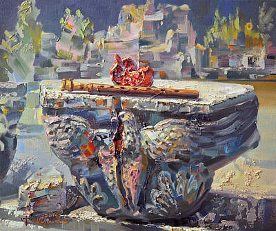Painting - Zvartnots Eagle Duduk And Pomegranate by Meruzhan Khachatryan