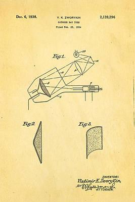 Zworykin Cathode Ray Tube Tv Patent Art 1938 Print by Ian Monk