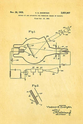 Zworykin Television Patent Art 2 1931 Art Print by Ian Monk