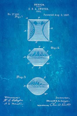 Charcoal Photograph - Zwoyer Charcoal Fuel Patent Art 1897 Blueprint by Ian Monk