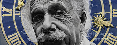 Clocks Painting - Zytgloggenrichter- Albert Einstein by Simon Kregar