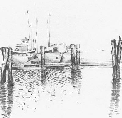 Abstract Forms Drawing -            Boat Forms  1 by Trudy Brodkin Storace