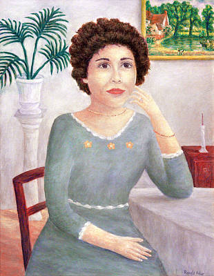 Girl Painting -        Lady In Green by Ronald Haber