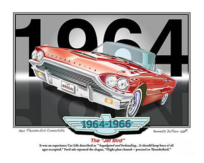 1964 Thunderbird Art Print by Kenneth De Tore
