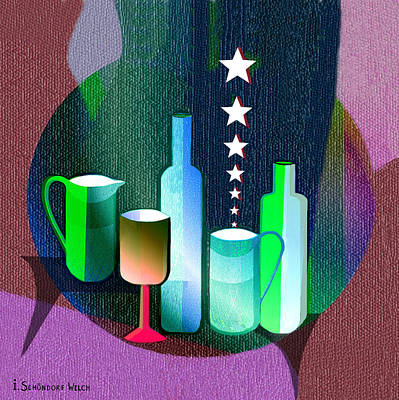 Digital Art -  647 - Bottles And Stars   by Irmgard Schoendorf Welch