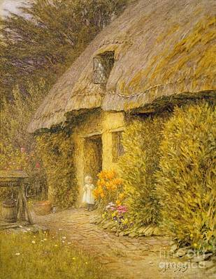 A Child At The Doorway Of A Thatched Cottage  Art Print by Helen Allingham