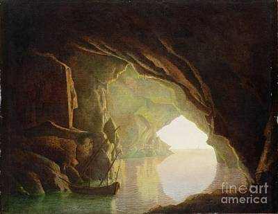 Of Pirate Ship Painting -  A Grotto In The Gulf Of Salerno - Sunset by Joseph Wright of Derby