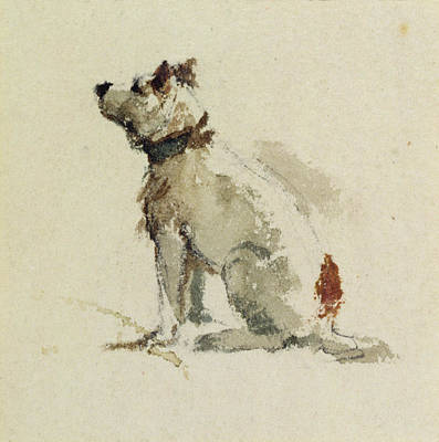 Sniffing Painting -  A Terrier - Sitting Facing Left by Peter de Wint