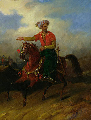 Barbarian Painting -  An Ottoman On Horseback  by Charles Bellier