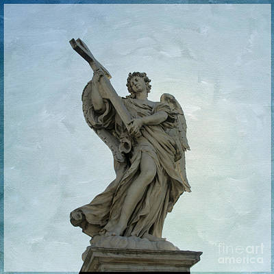 Manipulation Photograph -  Angel With Cross. Ponte Sant'angelo. Rome by Bernard Jaubert