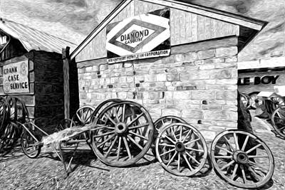 Antique Wagon Wheels Art Print by James Steele