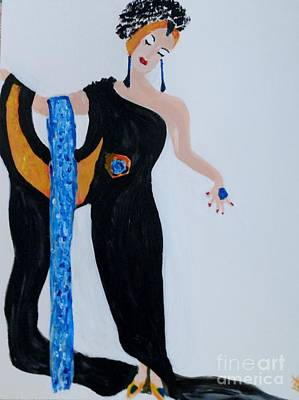 Erte Painting -  Art Deco Lady by Marie Bulger