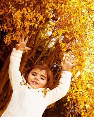 Baby Girl In Autumn Park Art Print by Anna Om