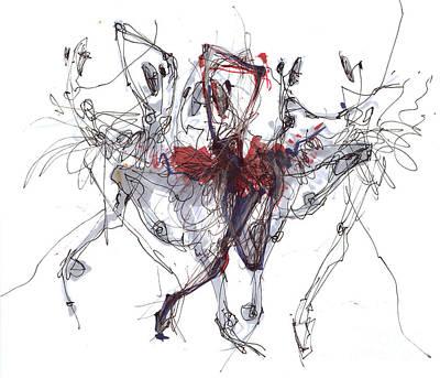 Ballet Drawing -  Ballet Trajectory Or Nutckracker by Lousine Hogtanian