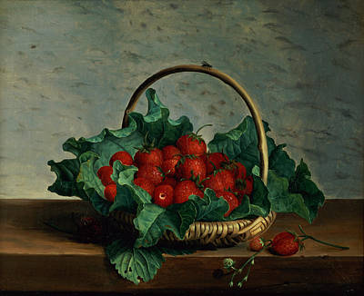Basket Of Strawberries Art Print by Johan Laurents Jensen