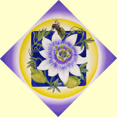 Bee And Passionflower Print by Marcia  Perry