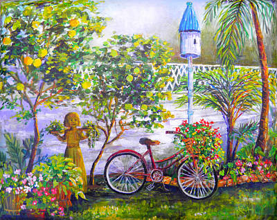 Painting -  Bicycle In The Garden by Lou Ann Bagnall