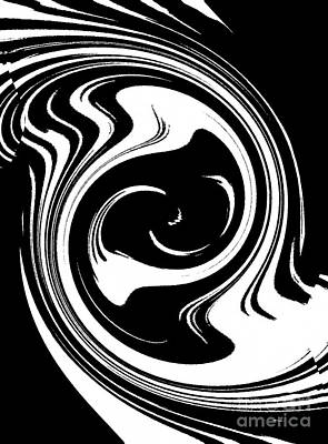 Concentration Digital Art -  Black And White Circles Waves Wortex No.215 by Drinka Mercep