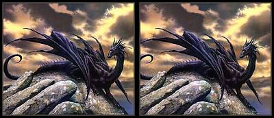 Conversion Digital Art -  Black Dragon - Gently Cross Your Eyes And Focus On The Middle Image by Brian Wallace