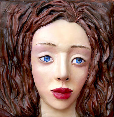Modeling Clay Sculpture -  Blue-eyed Girl by Yelena Rubin
