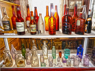 Painting -  Bodie Ghost Town - Old Bottles by Gregory Dyer