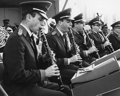 Marching Band Photograph - Brass Band Playing Outdoors, (b&w) by George Marks