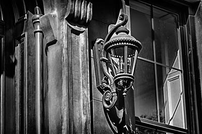 Photograph -  Brownstone Lamp In Black And White by Val Black Russian Tourchin