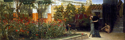 Embrace Painting -  Corner Of A Roman Garden by Sir Lawrence Alma-Tadema