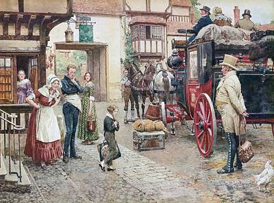 Carriage Driving Painting -  David Copperfield Goes To School by Fortunino Matania