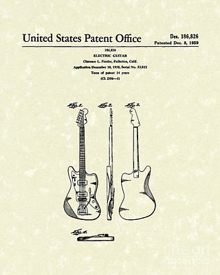 Rock And Roll Drawing -  Fender Electric Guitar 1959 Patent Art  by Prior Art Design