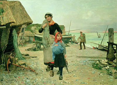 Fisherfolk Returning With Their Nets Art Print by Henry Bacon