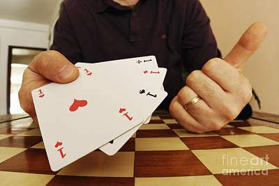 Images Of Hands Photograph -  Four Aces In Hands by Sami Sarkis