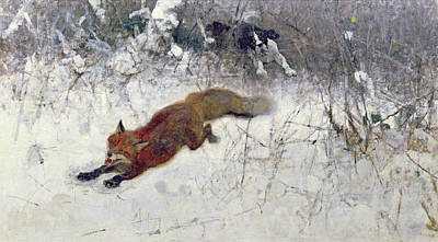 Dog In Snow Painting -  Fox Being Chased Through The Snow  by Bruno Andreas Liljefors