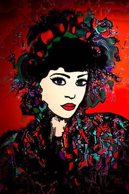 Hairstyle Mixed Media -  Geisha Girl by Natalie Holland
