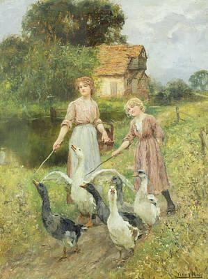 Geese Painting -  Girls Herding Geese  by Henry John Yeend King