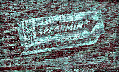 Gum On Brick Blue Art Print by Tony Grider