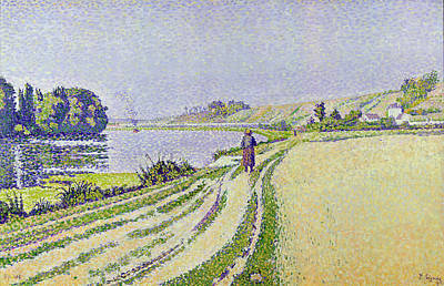 River Walk Painting -  Herblay La River  by Paul Signac