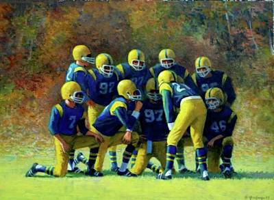 Painting -  High School Huddle by Mel Greifinger