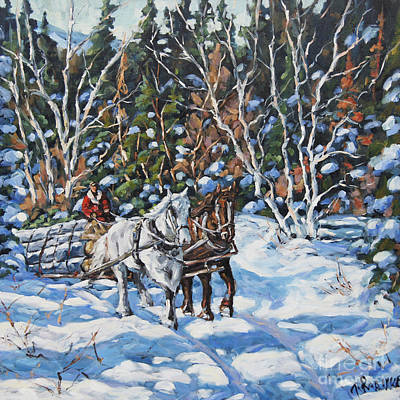 Walter Pranke Painting -  Horses Hauling Wood In Winter By Prankearts by Richard T Pranke
