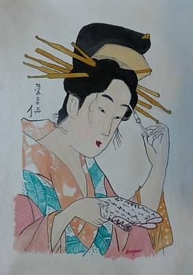 Japan Wood Block  Painting Art Print by Robert Tarzwell