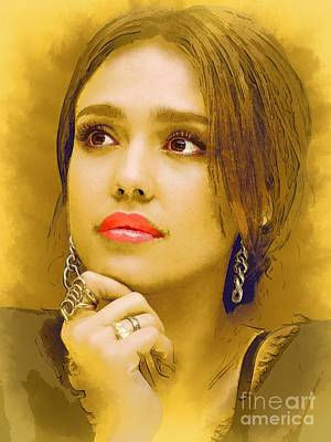 Jessica Alba Wall Art - Digital Art -  Jessica Alba Portrait C by Andre Drauflos