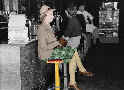 Photograph -  Lady In A Diner by Andrew Fare