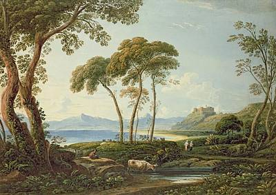 Landscape With Rocks Painting -  Landscape With Harlech Castle by John Varley