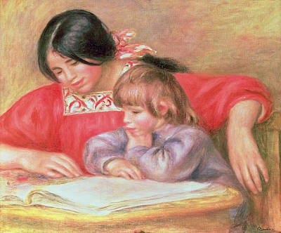 Desk Painting -  Leontine And Coco by Pierre Auguste Renoir
